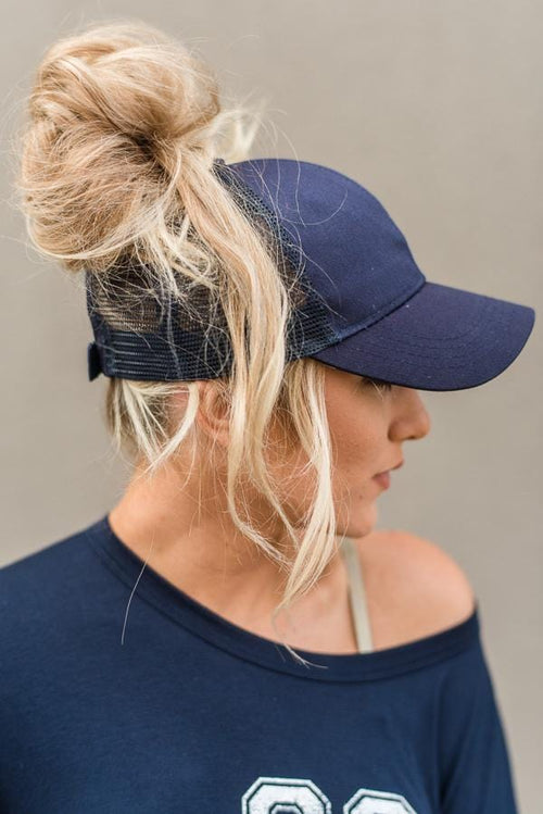 Messy Bun Baseball Hat - Navy Mesh