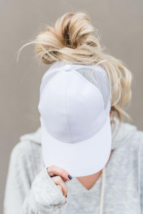 Messy Bun Baseball Hat - White Mesh