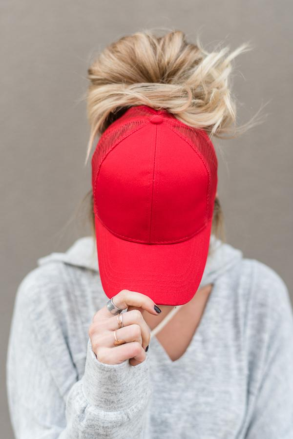 Messy Bun Hat in Red