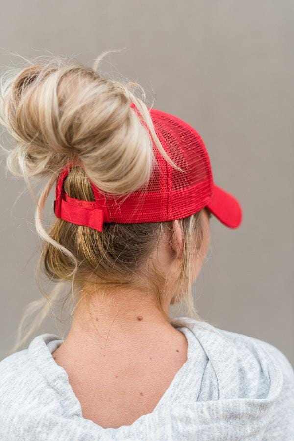 Ponytail baseball hats in red