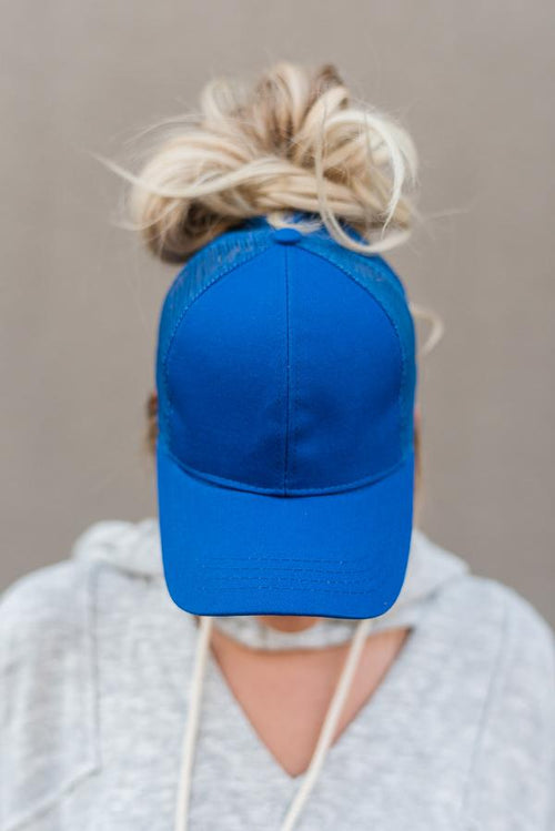 Messy Bun Baseball Hat - Royal Blue Mesh