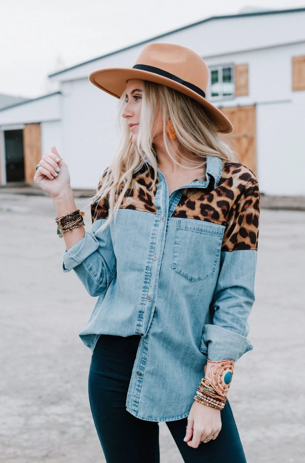Image of Leopard Patch Denim Shirt