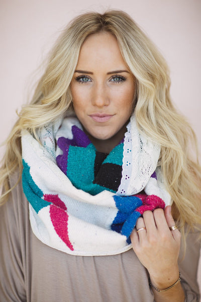 colorful mexican Serape + Lace Blanket Infinity Scarf