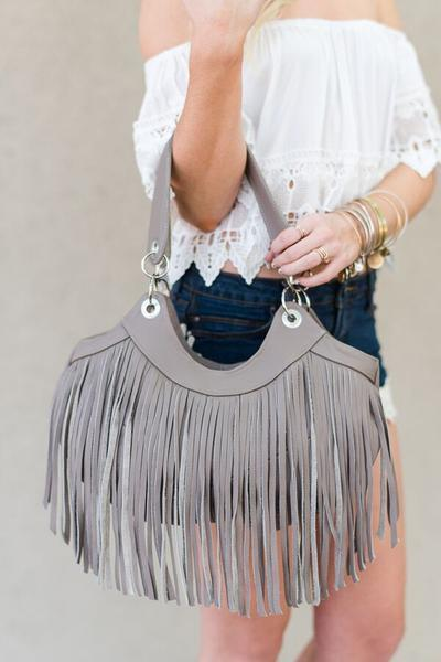 Texan Time Brown Fringe Handbag