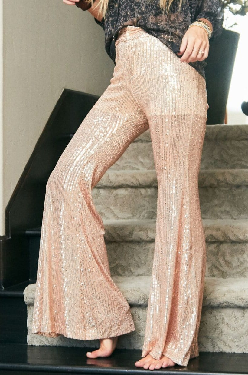 Image of Inka Sequin Flare Pants - Rose Gold