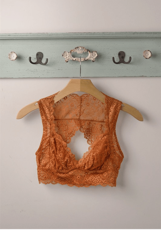 Open Back Keyhole Rust Lace Bra-intimates-Affordable Online Boutique | Cute + Trendy Women's Clothes - 5