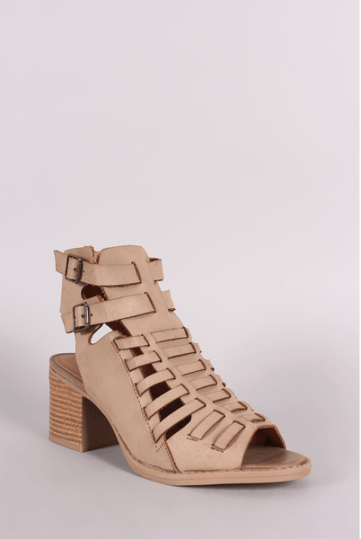 Open Toe Chunky Heel in Taupe