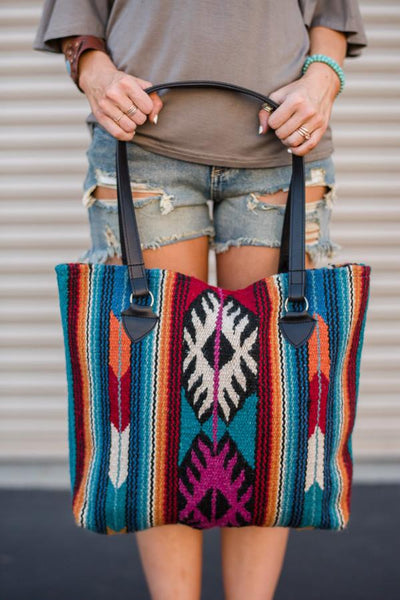 Southwestern Wool Patterned Handbags Aqua