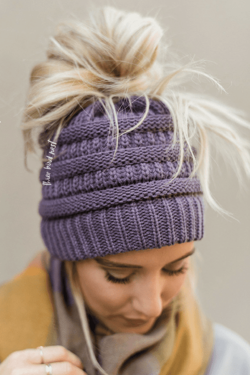 Messy Bun Knitted Beanie Hat - Violet