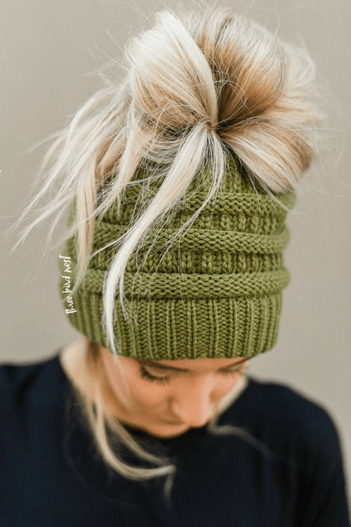 Messy Bun Knitted Beanie Hat - Olive