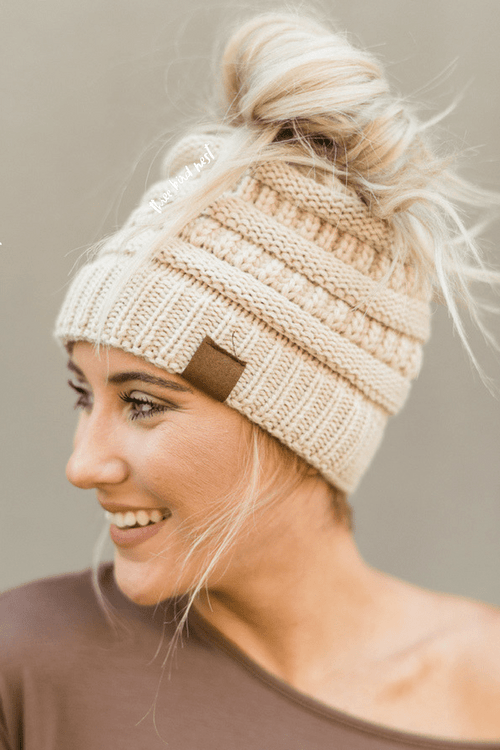 Messy Bun Knitted Beanie Hat - Oatmeal