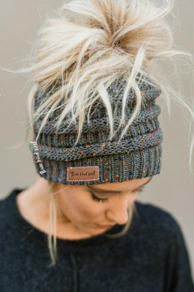 Messy Bun Knitted Beanie - Confetti Charcoal Gray
