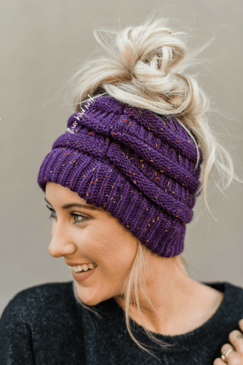 Messy Bun Confetti Knitted Beanie - Purple