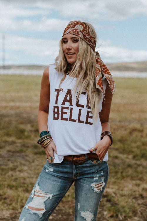 Taco Belle Graphic Tank Top - White