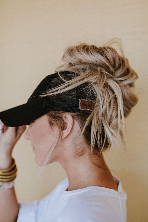 Messy Bun Baseball Hat - Black