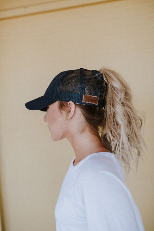 Messy Bun Baseball Hat - Navy