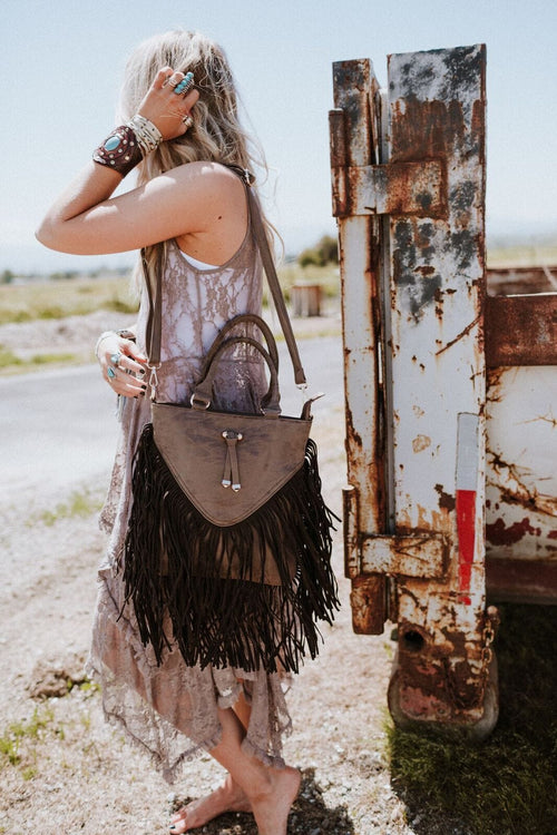 Paradise Valley Fringe Top Handle Bag - Brown