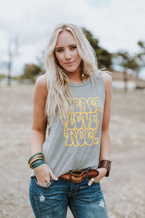 Peace, Love + Rock Graphic Tank Top