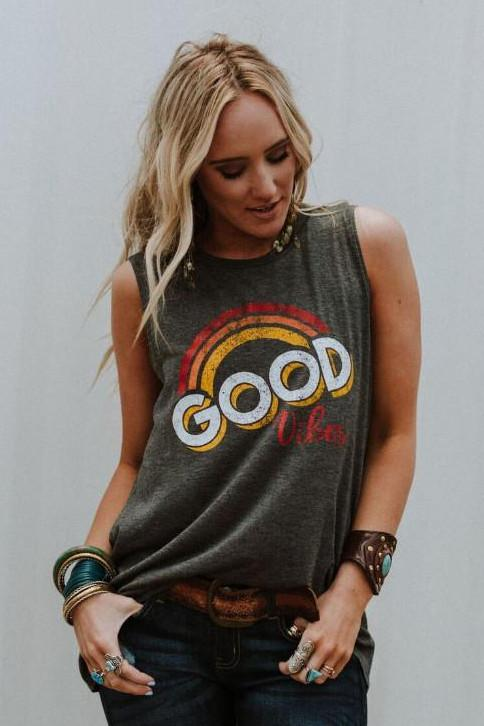 Good Vibes graphic tank top tees