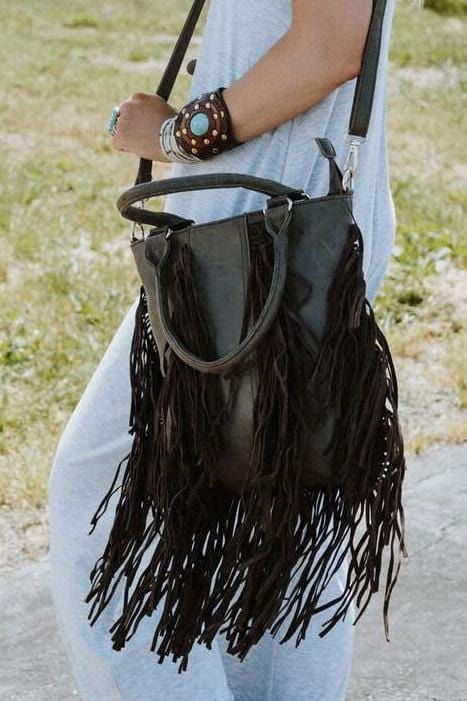 Grand Canyon Double Fringe Bag - Brown