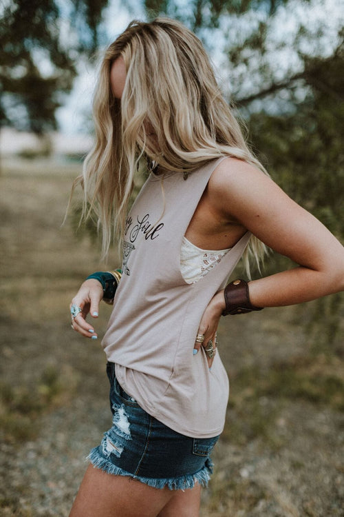 Gypsy Soul Dreamcatcher Graphic Top - Taupe