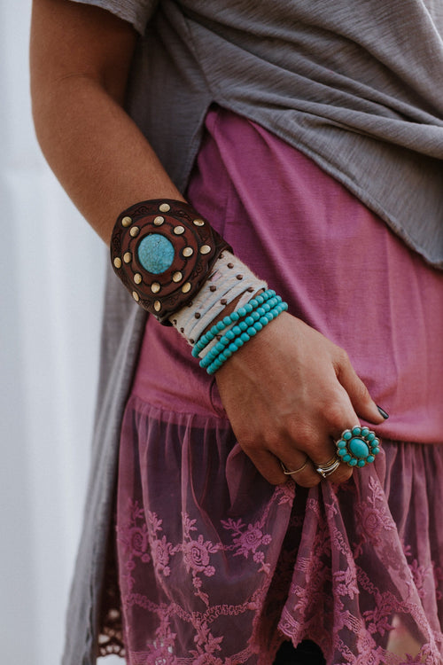 Leather boho cuffs and turquoise beaded bracelets