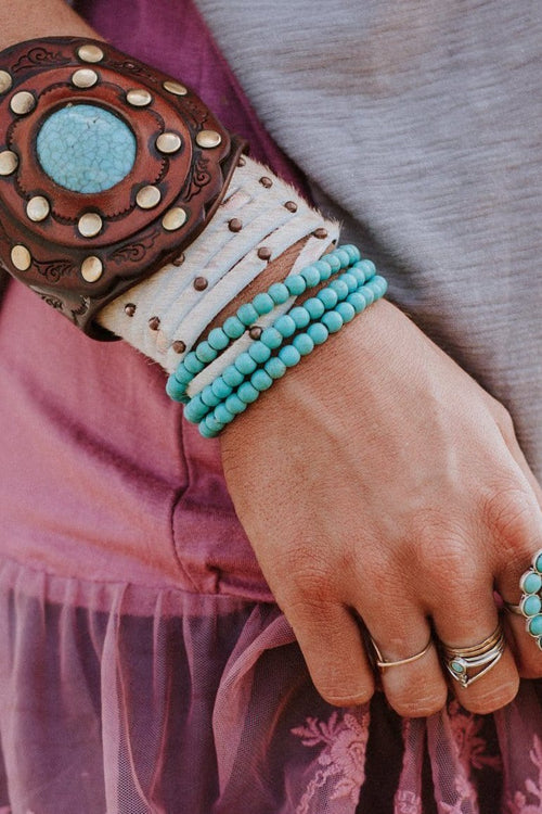 Turquoise and leather bracelets