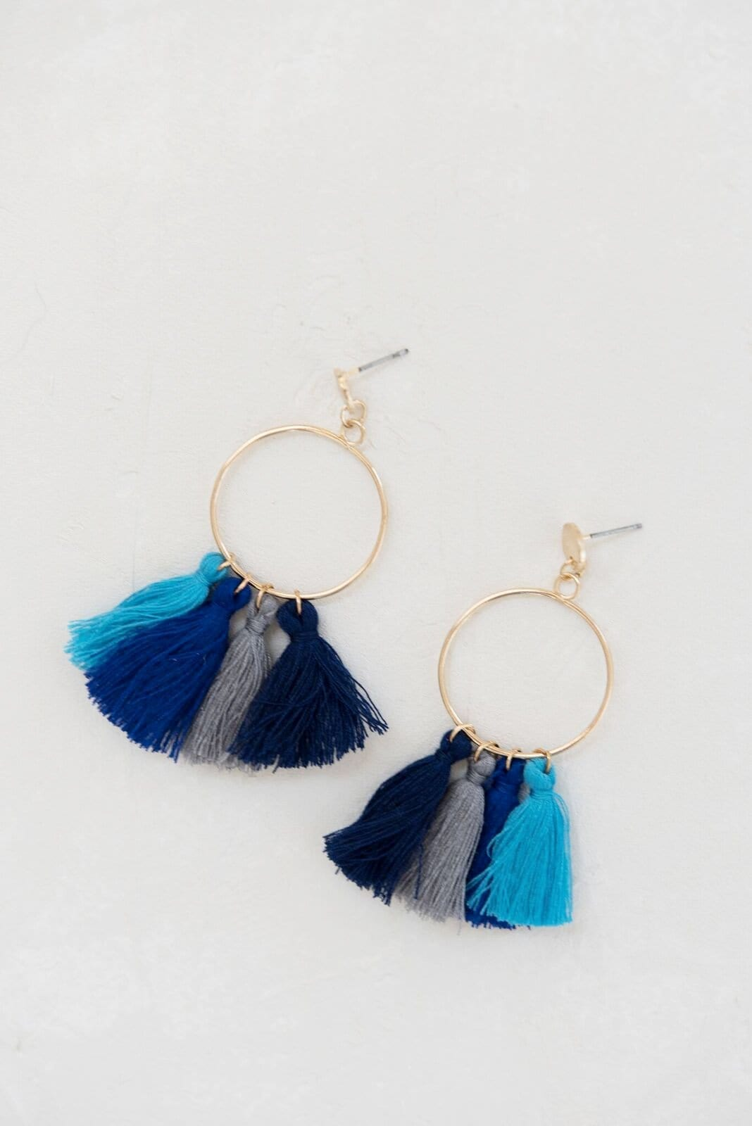 Samba Fringe Earrings - Blue Combo