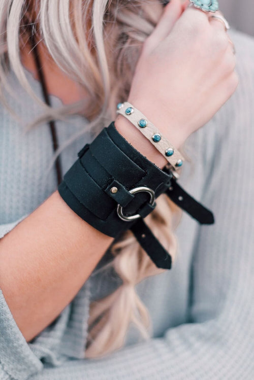 Turquoise Studded Thin Leather Cuff - Ivory