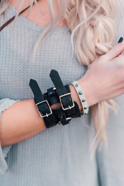 Double Buckle Leather Cuff - Black