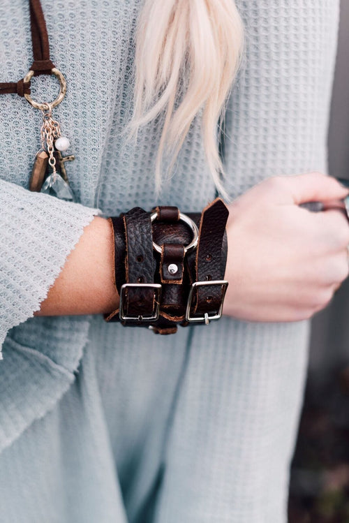 Double Buckle Leather Cuff - Brown