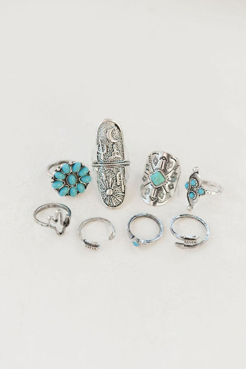 Turquoise layer rings collection