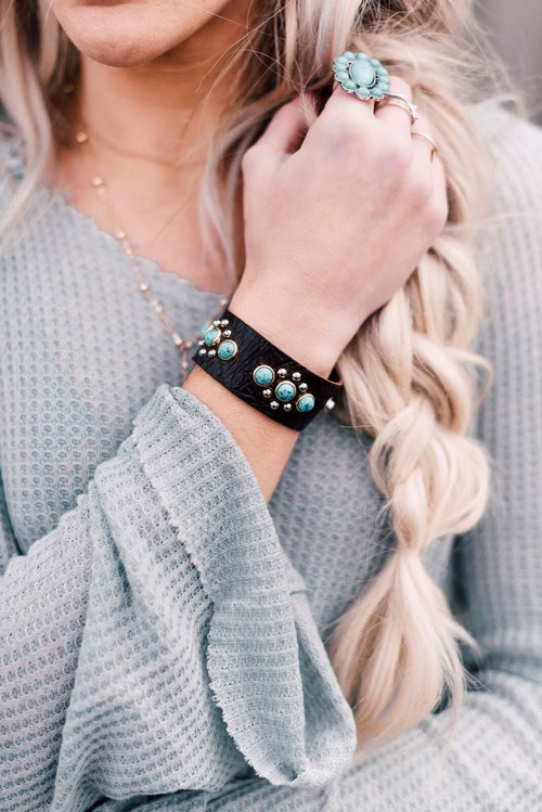 Leather Cuff With Turquoise Studded Flowers