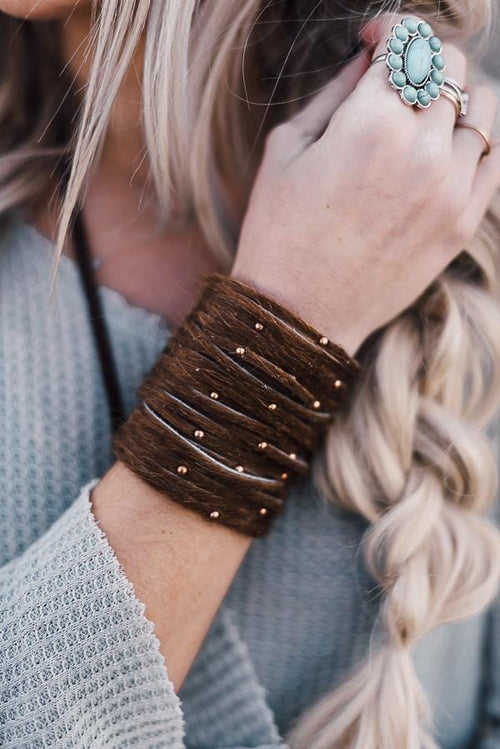 Studded + Sliced Wide Leather Cuff - Brown