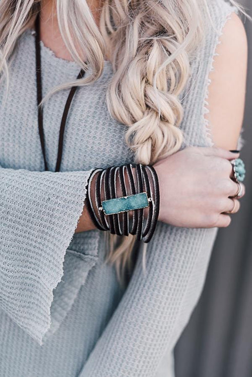 Fringed Leather Cuff with Druzy Stone