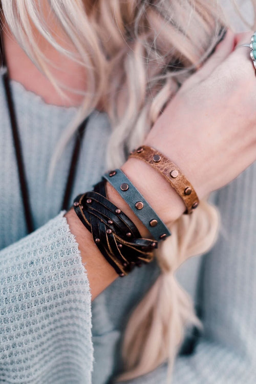 Studded Leather Skinny Cuff - Gray