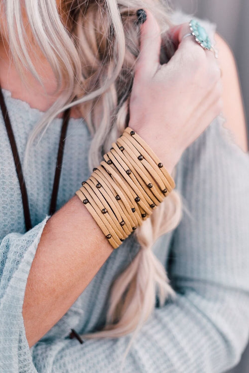 Studded + Sliced Wide Leather Cuff - Mustard