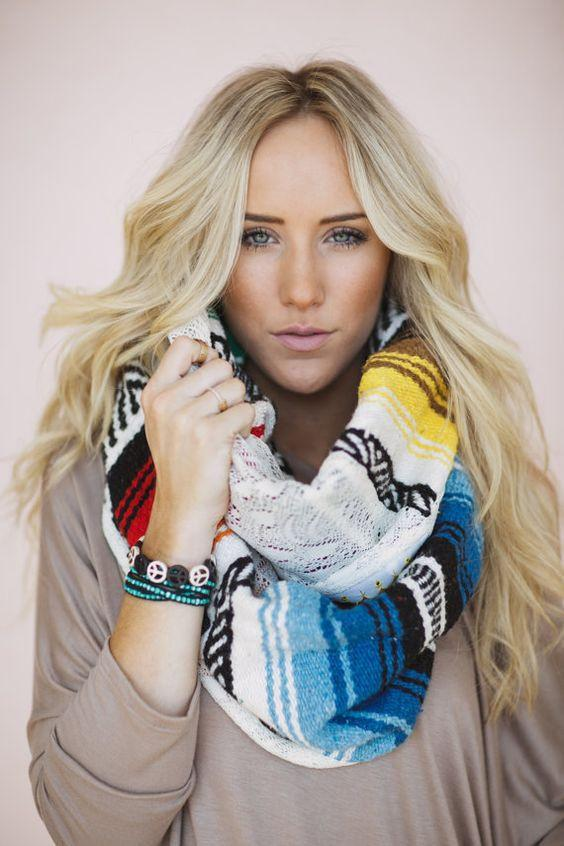 Serape Lace Infinity Mexican Blanket Scarf from Three Bird Nest