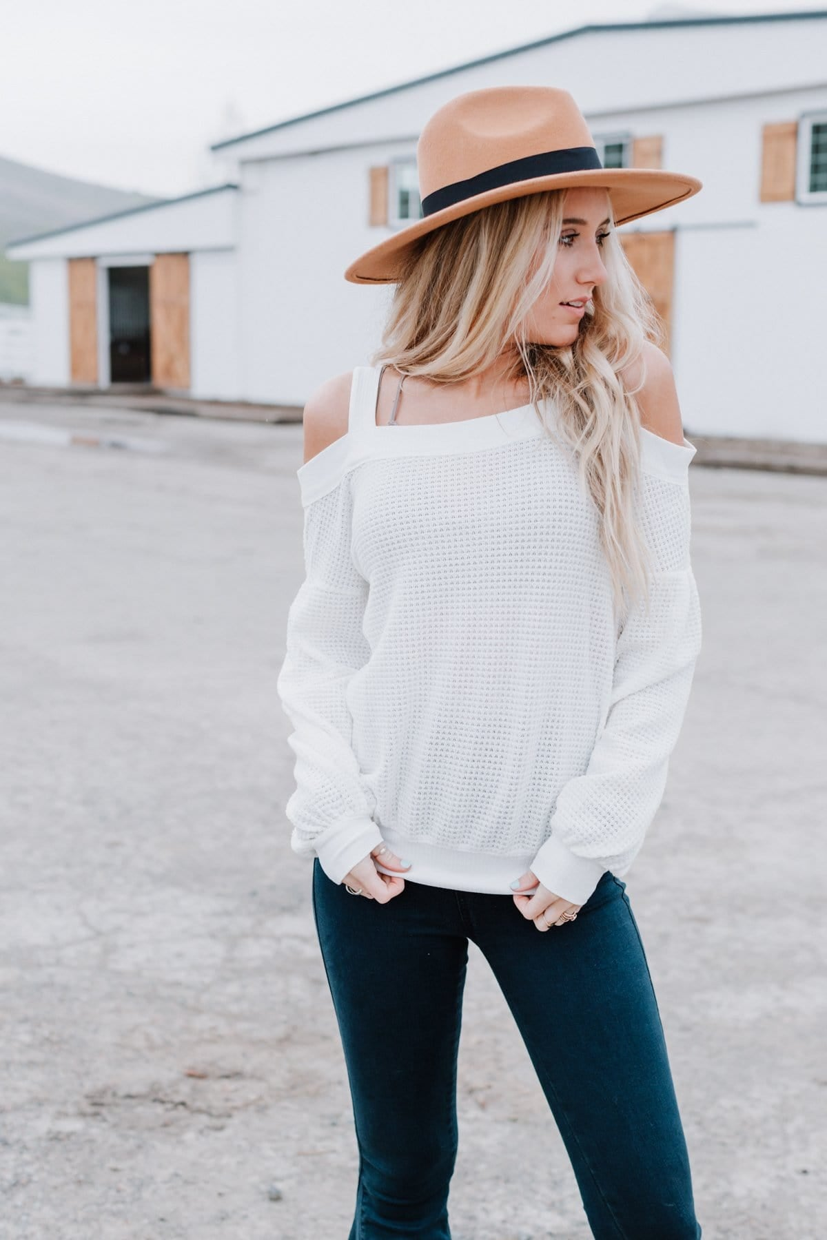 Image of Cold Shoulder Waffle Knit Top