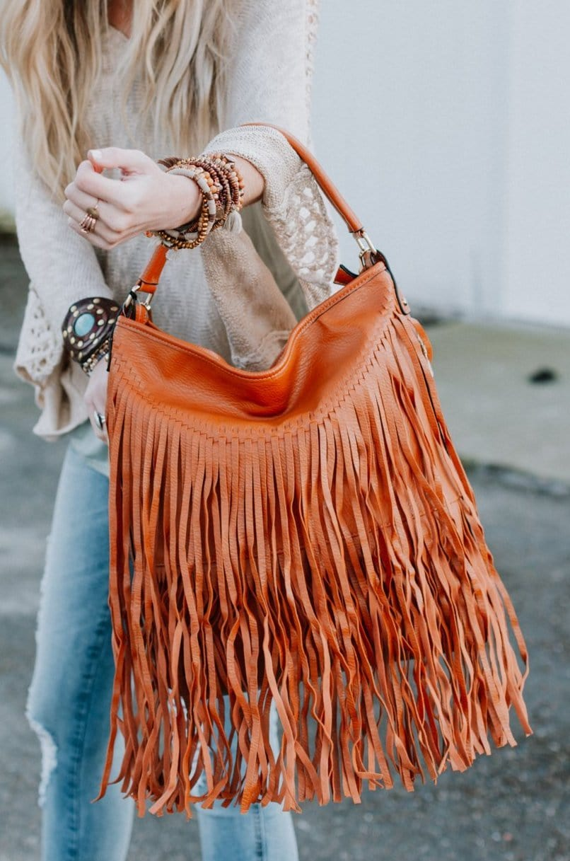 Image of Sid Fringe Bag - Camel