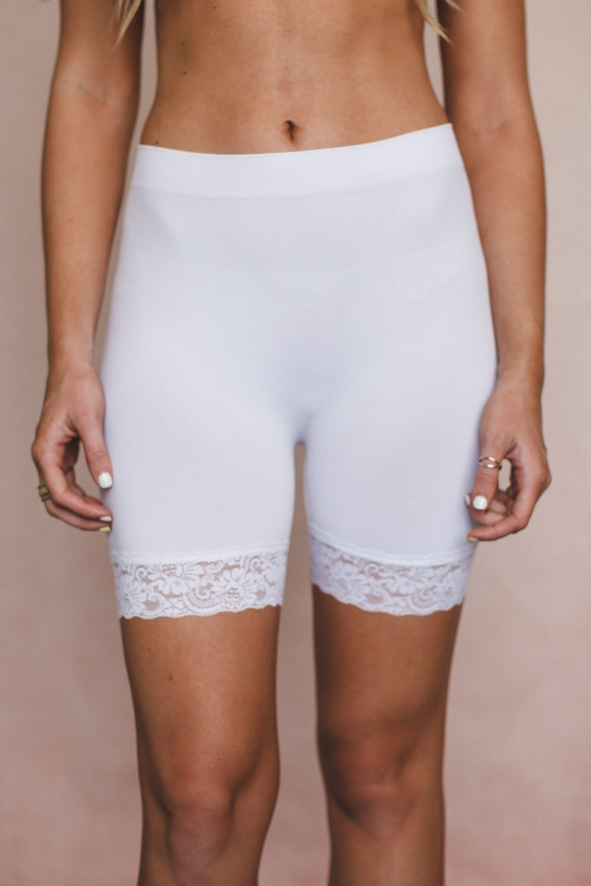 Lace Peek Layering Shorts - White