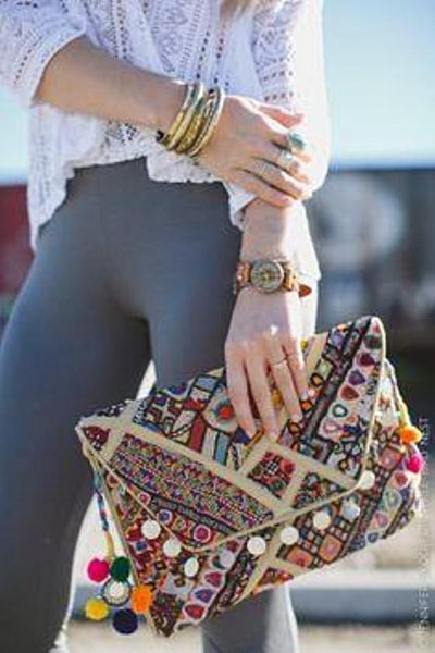 Kantha Hand-Stiched Indian Vintage Purse and Clutches from Three Bird Nest