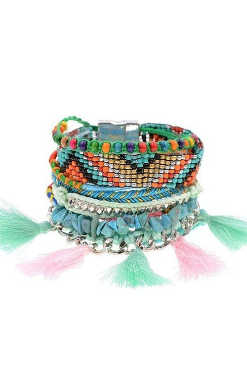 Lots Of Layers Bracelet - Turquoise