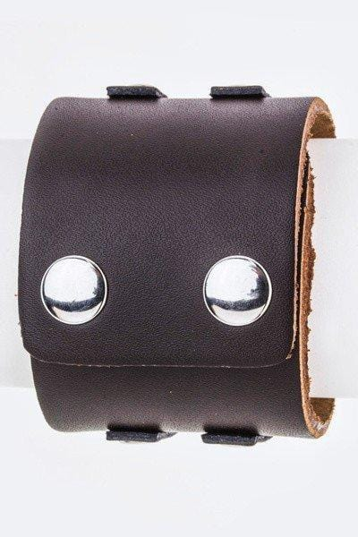 Hinged Metal & Leather Cuff