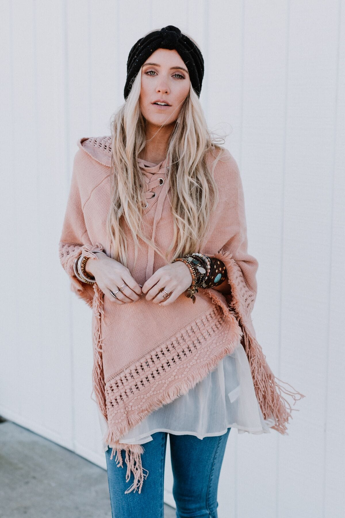 Fierra Lace Up Hooded Poncho - Pink