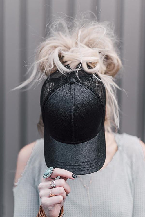 black glitter messy bun baseball cap
