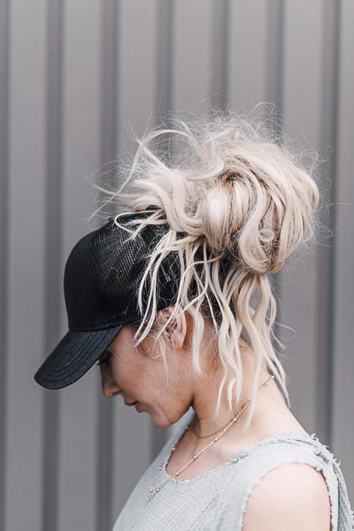 Messy Bun Baseball Cap - Black Glitter