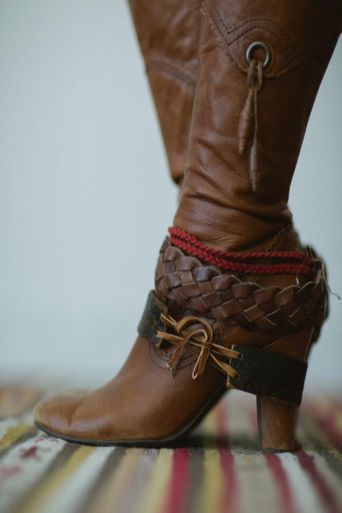 Leather Boot Cuff Bracelets Set