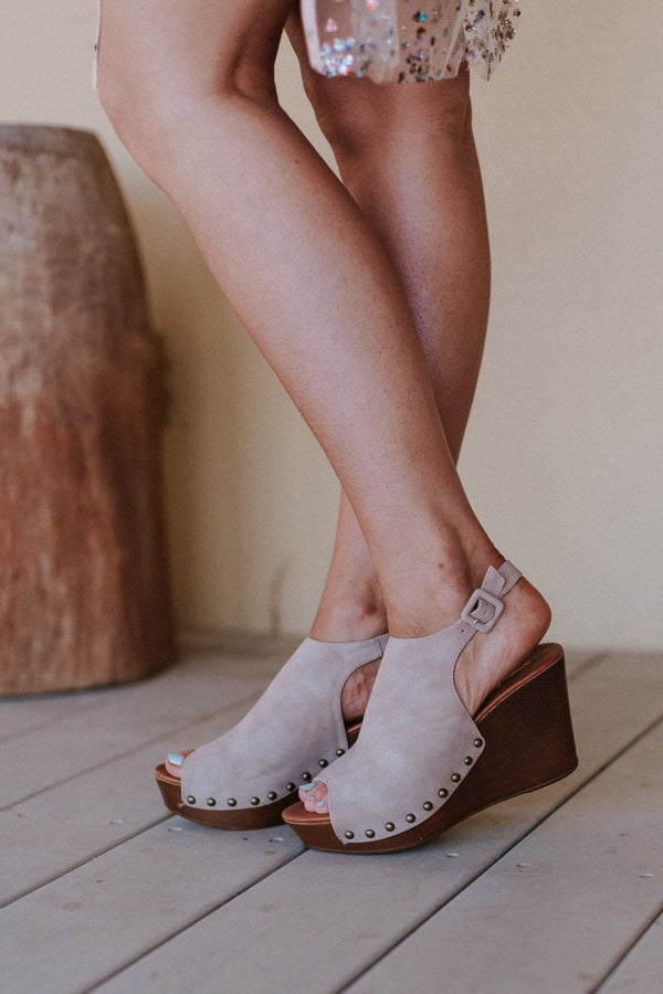 Darcy Studded Wedge - Taupe