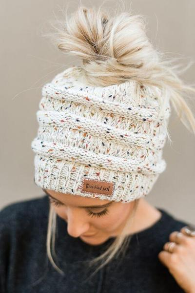 Messy Bun Knitted Beanie - Confetti Ivory